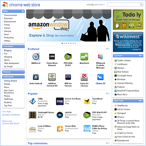 Google Chrome Web Store Up and Running