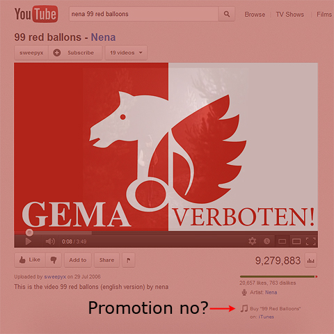99 Lead Balloons - German Music Industry Association GEMA looks to ground German Pop Industry by hamstringing YouTube