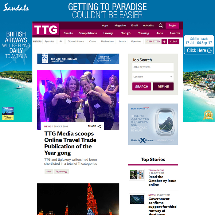 Affino Client TTG Wins Travel Media Awards Online Travel Publication of the Year