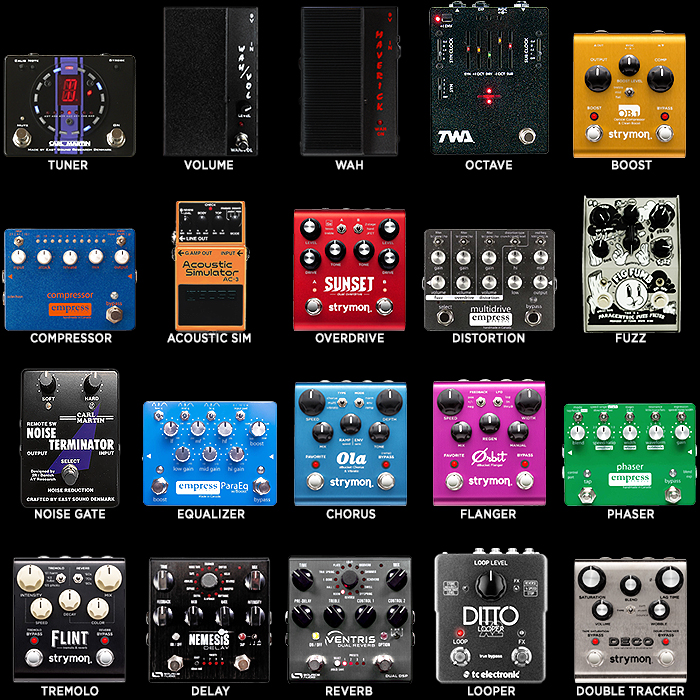 20 Key Guitar Effects Pedal Types - Preferred Medium Pedal per Type