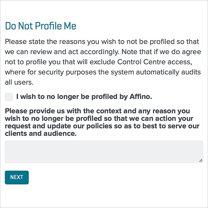 7 : Do Not Profile Me Form