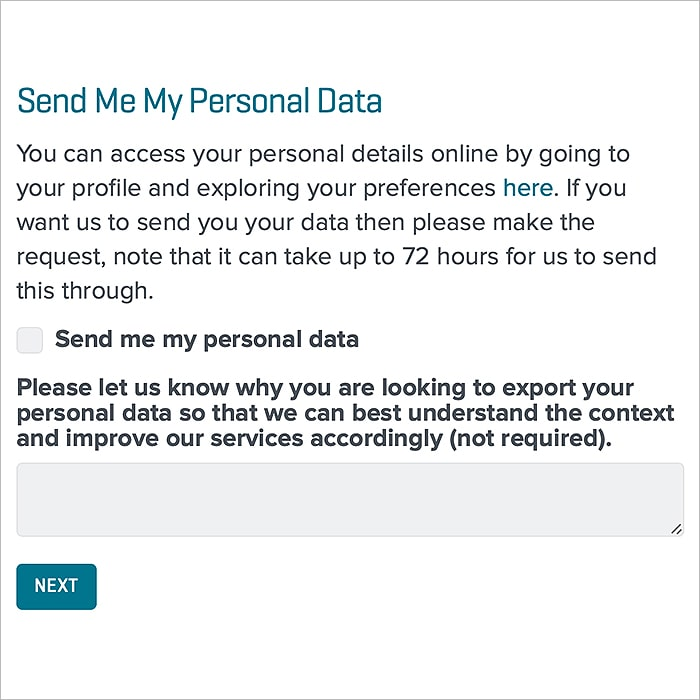 8 : Send Me My Personal Data Form