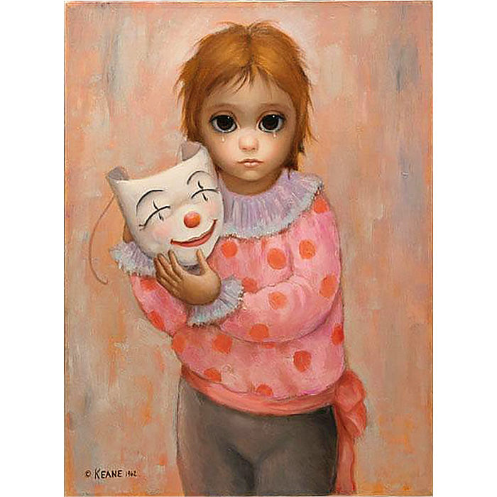 "1962 : Margaret Keane : ""Sad Clown"" Painting / Athena Poster"