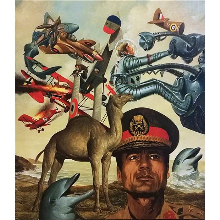 Erró (Guðmundur Guðmundsson) (1932 > ) - Soft Kadhafi (1974) (Oil on Canvas)
