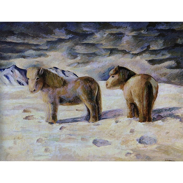 Jón Stefánsson (1881-1962) - Útigangshestar / Horses Out to Pasture (1929) (Oil on Canvas)