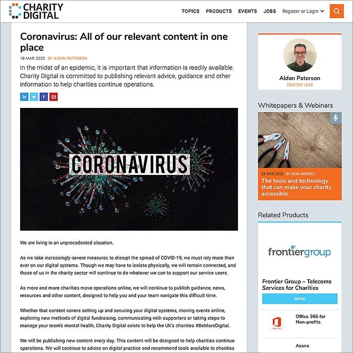 Charity Digital Coronavirus Hub
