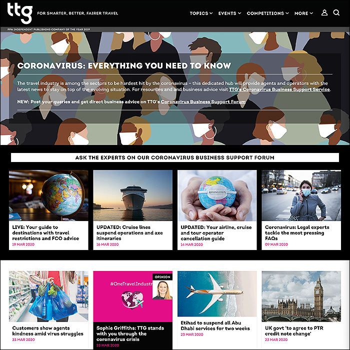 TTG Media Cements its Travel Industry Leadership with Exemplary Coronavirus Hub