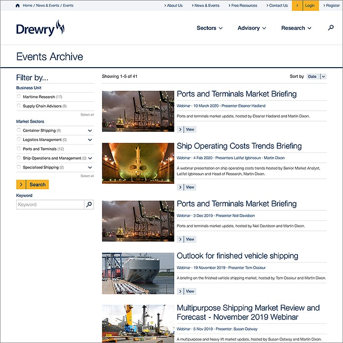 Essential Webinar Advice from James Harley of Drewry Shipping Consultants