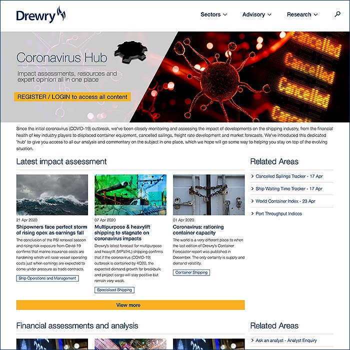 Drewry's Thematic Approach to New Coronavirus Hub Breaks All-Time Daily and Monthly Engagement Records