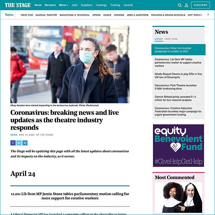 The Stage Coronavirus News Feed