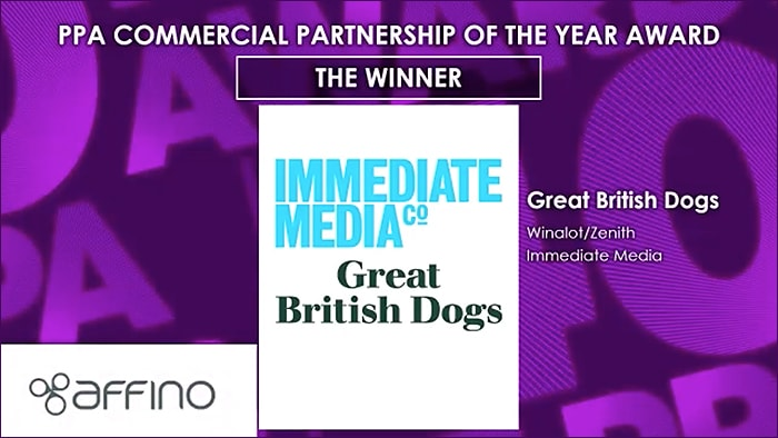 And the Winner is ................. Winalot, Zenith and Immediate Media for the Great British Dogs social media experience
