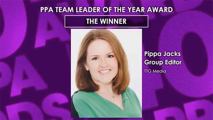 Side Note - Congratulations to Pippa Jacks at TTG Media for Winning Team Leader of the Year!