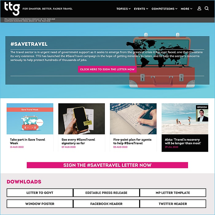 TTG's #SAVETRAVEL Campaign uses Affino Forms to Great Effect