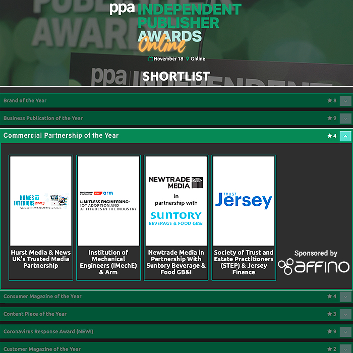 Affino Supports Independent Publishers through Participation in tomorrow's 2020 PPA IPN Awards and Sponsorship of the Commercial Partnership of the Year Category