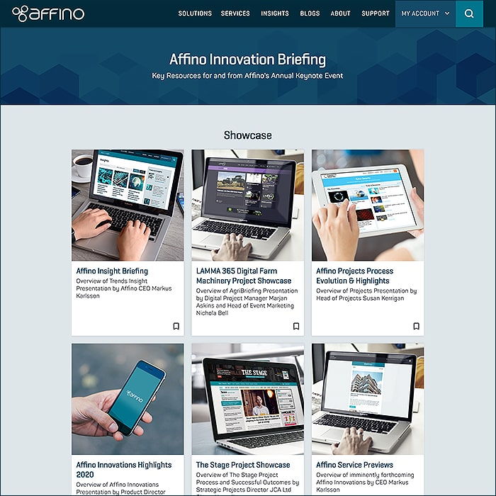 Access all the Resources from the Affino Innovation Briefing on a Single Contextual Page